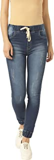 Miss Chase Women's Navy Blue Relaxed Fit Denim Joggers