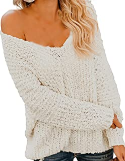 Happy Sailed Women Off Shoulder Sweaters V Neck Long Sleeve Oversized Pullovers Jumpers