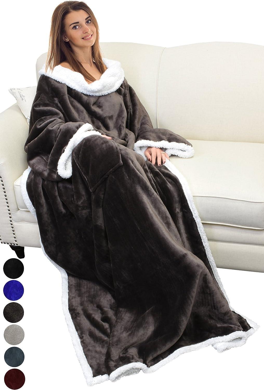 Catalonia Platinum Decke mit Ärmeln, Dual Microplush Fleece Sherpa Warme Warme Warme Decken für Erwachsene Frauen Männer 183cm x 140cm B0761VTJLD b7e954