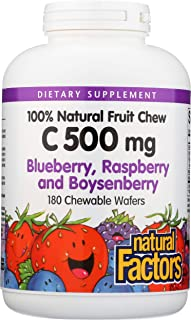 Natural Factors, Vitamin C 500 mg, Kids Chewable, Blueberry, Raspberry, Boysenberry, Vegan, 180 wafers (180 servings)
