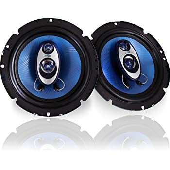"6.5"" Three-Way Sound Speaker System - 180 W RMS/360W Power Handling w/ 4 Ohm Impedance and 3/4'' Piezo Tweeter for Car Component Stereo, Round Shaped Pro Full Range Triaxial Loud Audio - Pyle PL63BL"