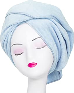 Tancano Super Absorbent Anti-Frizz Microfiber Hair Towel Hair Wrap Curly Hair Drying Towel 23.6''x47'' Large Multifunction Towel for Bath Spa Makeup, Light Blue