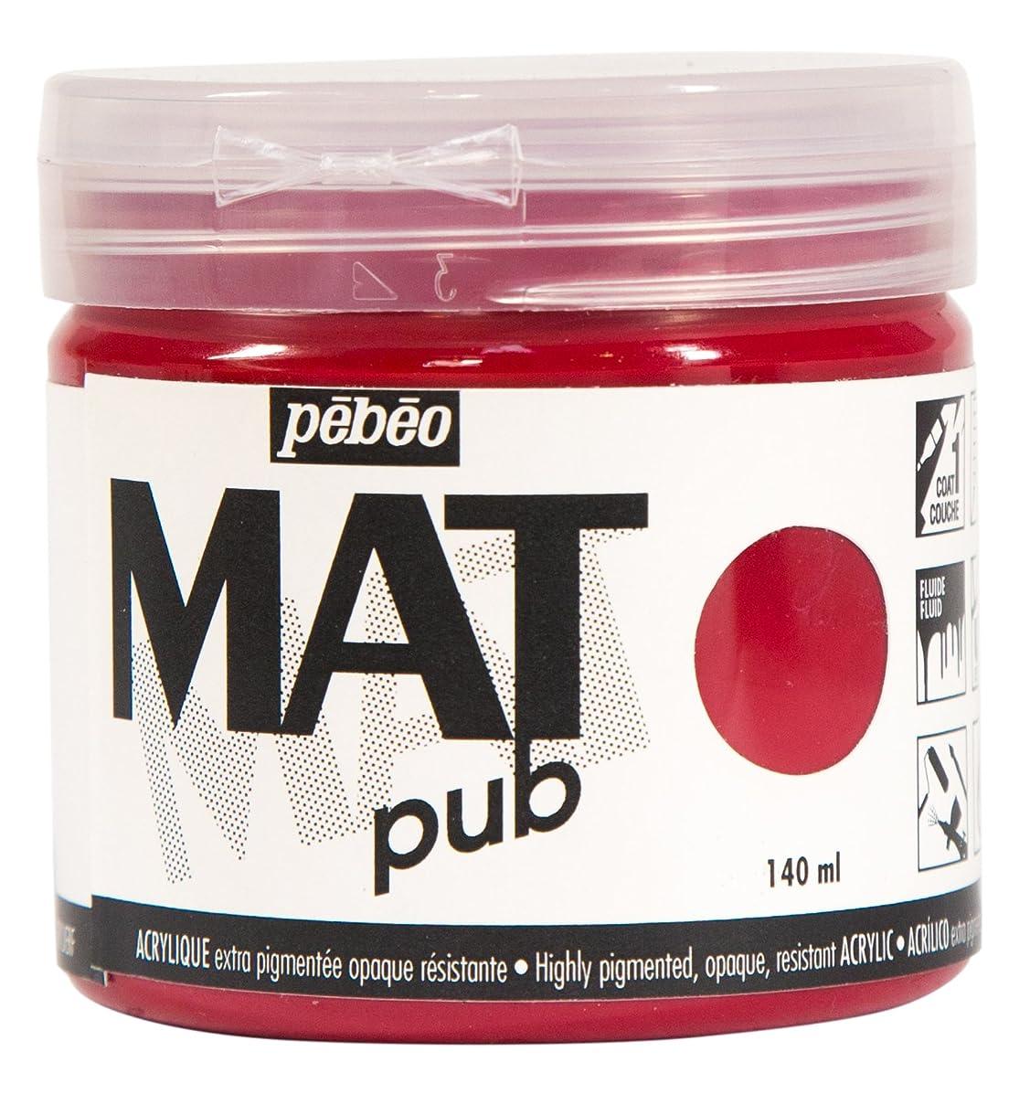 Pebeo 256007 Mat Pub, Extra fine, 140 ml-Carmine Red Acrylic Paint,