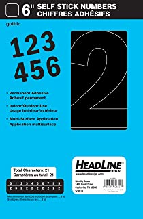 Headline Sign 32621 Stick-On Vinyl Numbers, Black, 6-Inch