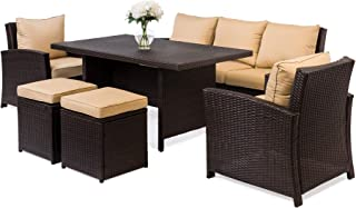 Best Choice Products 6-Piece Modular Patio Wicker Dining Sofa Set, Weather-Resistant Outdoor Living Furniture w/ 7 Seats, Cushions - Brown