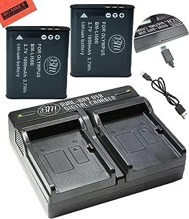 BM Premium 2-Pack oF LI-50B, LI50 Batteries and Dual Battery Charger for Olympus Stylus TG610, TG630 HIS, TG-810, TG-820, TG-830 HIS, TG-850, TG-850 IHS, TG-860, TG-870, VG-190, XZ-1, XZ-16 iHS Camera