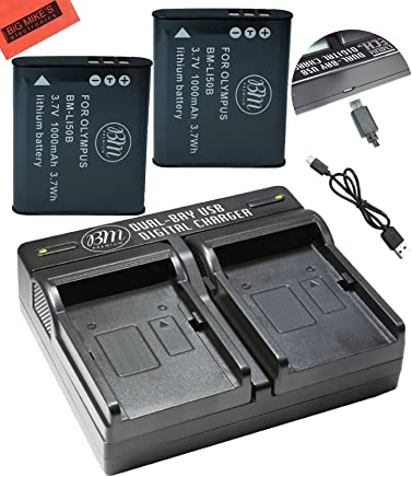 BM Premium 2-Pack OF LI-50B, LI50B, LI-50, LI50 Batteries and USB Dual Battery Charger for Olympus Stylus SH-25MR, SP-720UZ, SP-800UZ, SP-810UZ, SZ-10, SZ-12, SZ-15, SZ-16 iHS, SZ-20, SZ-30MR, SZ31MR iHS, TG-610, TG-630 HIS, TG-810, TG-820, TG-830 HIS, TG-850, TG-850 IHS, TG-860, TG-870, VG-190, XZ-1, XZ-16 iHS Digital Camera