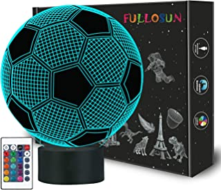 FULLOSUN Kids Night Light Football 3D Optical Illusion Lamp with Remote Control 16 Colors Changing Soccer Birthday Xmas Idea for Sport Fan Boys Girls