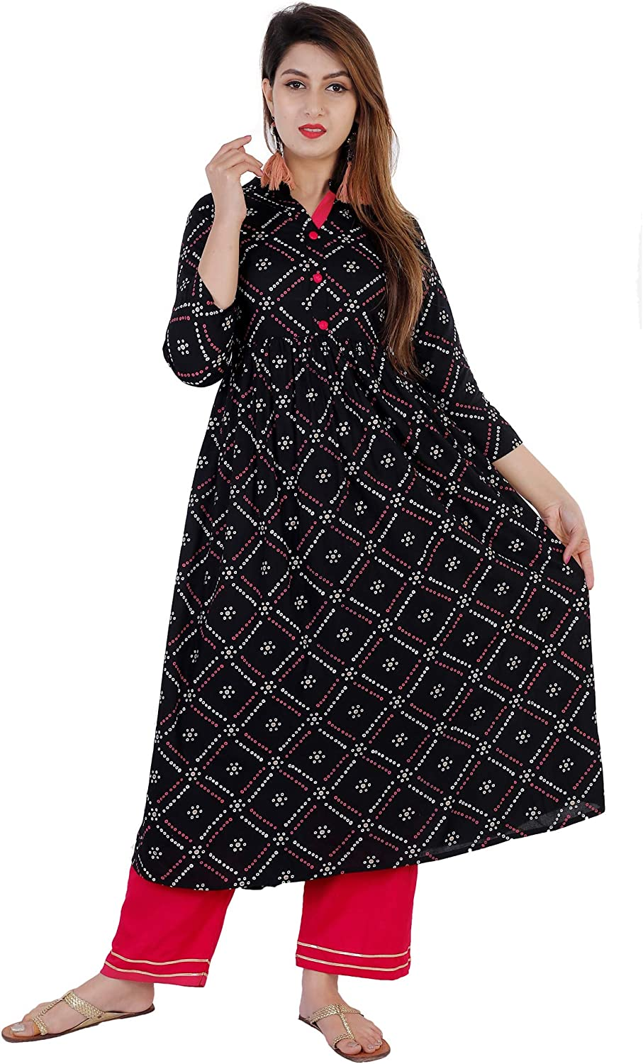 Cottonwalas Indian 返品送料無料 Tunic Tops Women's Checkered Wear 買収 Party Print