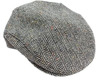 Mucros Weavers Men's Irish Flat Cap Wool Grey Herringbone Made in Ireland