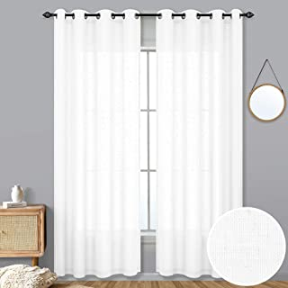 KOUFALL White Curtains 84 Inch Length for Bedroom Set of 2 Panels Grommet Top Soft Lightweight Window Sheer Drapes Linen Textured Light Filtering Farmhouse Curtains for Living Room 52X84 Inches Long