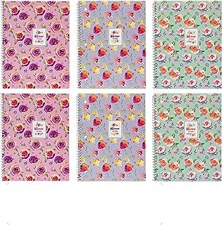 Pukka Pad Single Subject Notebook 6-Pack 50 Premium 80 GSM Sheets Blossom Range: Pink Green Purple
