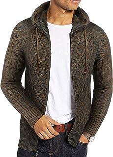 Coofandy Men's Long Sleeve Knitted Sweater Shawl Ruffle Collar Long Length Cape Coat Cardigan