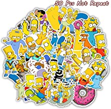 Simpsons Stickers 50 Pcs PVC Sticker Decal for Laptops, Mac-Book, Skateboards, Luggage, Cars, Bumpers, Bikes, Bicycles, Bedroom, Bicycle, Snowboard,etc