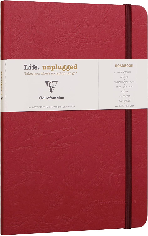 Un carnet dos carr/é coll/é Roadbook Age bag 128 pages 14,8x21 cm lign/ées avec Fermeture /élastique couverture Bleue Clairefontaine 793164C