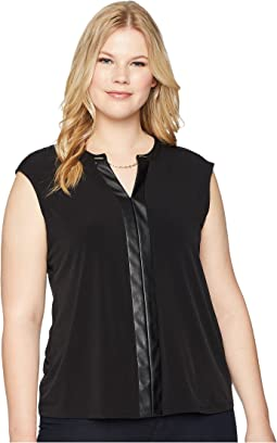 Plus Size Sleeveless V-Neck Chain Top