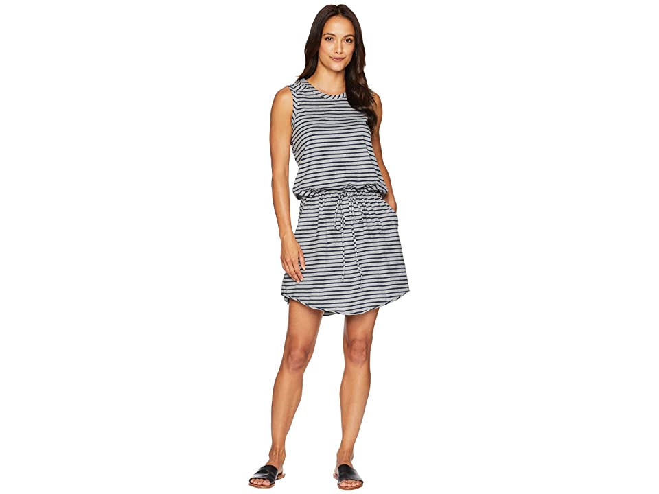 Dylan by True Grit Montauk Stripe Soft Cotton Knit Tie Tank Dress with Pocket (Heather/Indigo) Women