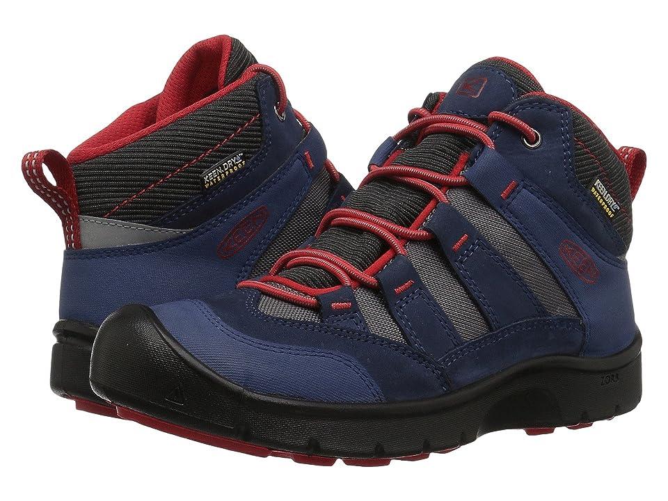 Keen Kids Hikeport Mid WP (Little Kid/Big Kid) (Dress Blues/Fiery Red) Boys Shoes