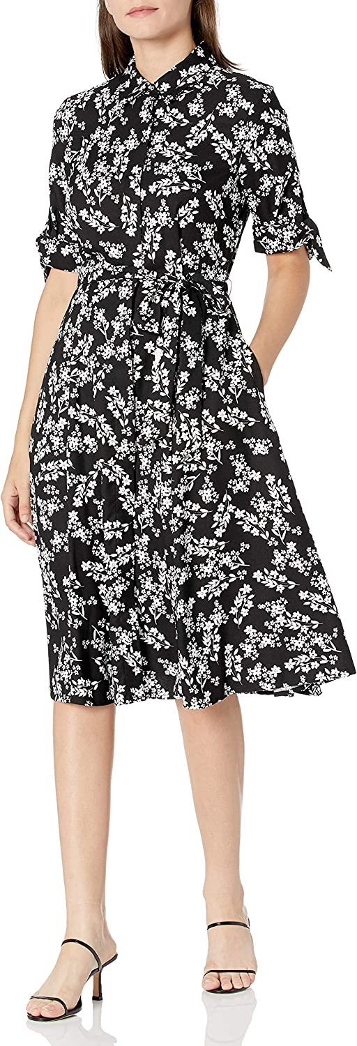 Calvin Klein Women's Recommended Short Sleeved Dress with Self Choice Belt Shirt