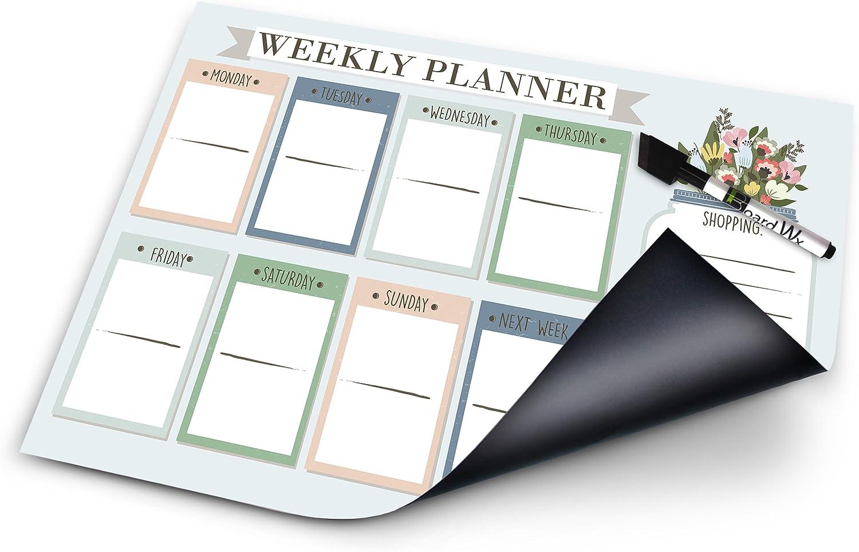 Board WX Magnetischer Wochenplaner für Kühlschrank Kühlschrank Kühlschrank auf einen Blick Familie Kalender mit Dry Erase Marker 43,2 x 30,5 cm B016YYQLQW | Ermäßigung  e2ed00
