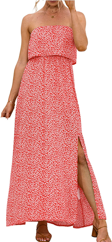 Women Summer Strapless Ruffles Boho Beach Front Slit Floral Long Maxi Dress