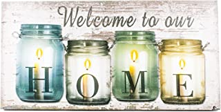 Oak Street Wholesale OSW Welcome to Our Home Canvas Art LED Candles Light up Wall Decor