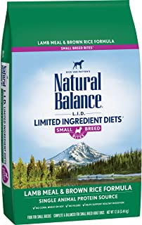 Natural Balance L.I.D. Limited Ingredients Small Breed Bites Dry Dog Food, Lamb Meal & Brown Rice Formula, 12 Pounds (Disc...