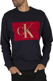 Calvin Klein Jeans Men's Flock Monogram Sweatshirt, Blue