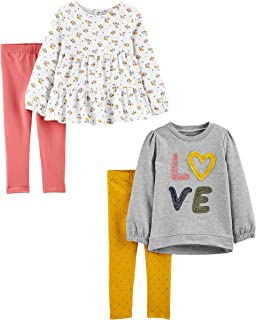 Simple Joys by Carter's Girls' 4-Piece Long-Sleeve Shirts...