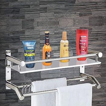 Plantex High Grade Stainless Steel Multipurpose 2 Tier Bathroom Shelf with Towel Holder/Towel Hooks/Bathroom Accessories Wall-Mount (Silver)