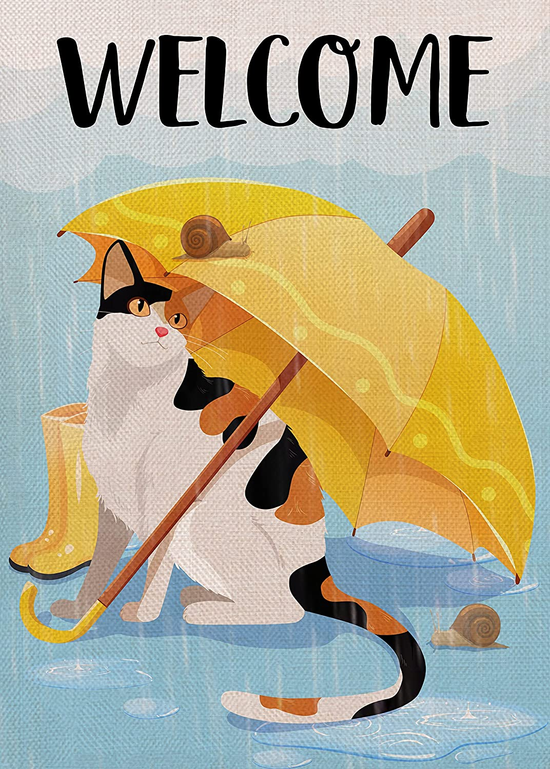 Furiaz Welcome Cat Yellow Umbrella Small Decorative Garden Flag, Funny Kitty House Yard Lawn Rain Boots Snails Home Outside Decoration, Fall Winter Farmhouse Outdoor Burlap Decor Double Sided 12 x 18