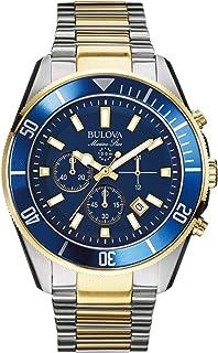 Bulova - Marine Star 98B230 - Reloj de Pulsera de Diseño para Hombre - Función de Cronógrafo - Resistente al Agua - Acero Inoxidable - Dorado y Azul