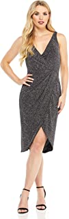 Maggy London womens Multi glitter draped front cocktail dress Cocktail Dress