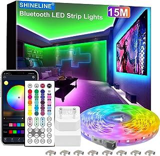 15M LED Strip, SHINELINE 1 Rolle Bluetooth App und Fernbedienung RGB LED Streifen, Musik Sync Farbwechsel LED Lichtband fü...
