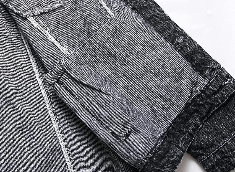 DIANGCHENAN Mens Jean Jacket, Ripped Slim Fit Trucker Distressed Denim Jacket