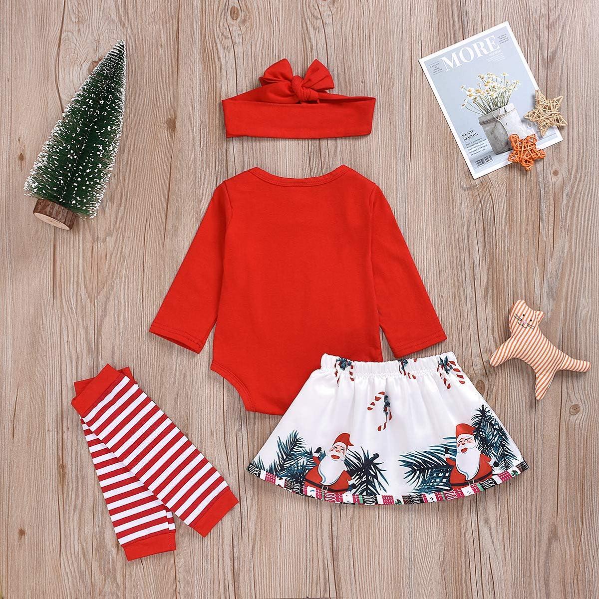 Christmas 3PCs Toddler Infant Baby Girl My 1st Christmas Red Romper Bodysuit Newborn Skirt Outfits Set