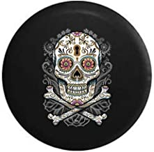 Pike Outdoors Floral Sugar Skull Vintage Smiling Flowers Spare Tire Cover fits SUV Camper RV Accessories 33 in