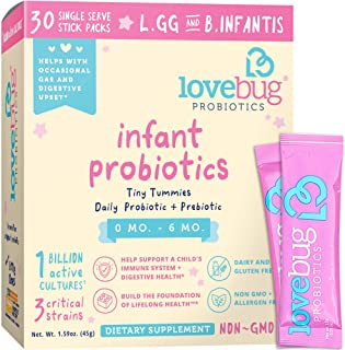 Lovebug Tiny Tummies Infant Probiotics, Helps with Occasional Gas and Digestive Upset - Reduce Crying & Fussiness, Support for Babies 0-6 Months Old, 30 Packets.