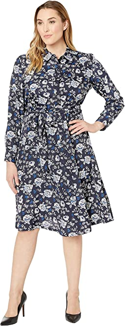 Plus Size Print Crepe Shirtdress