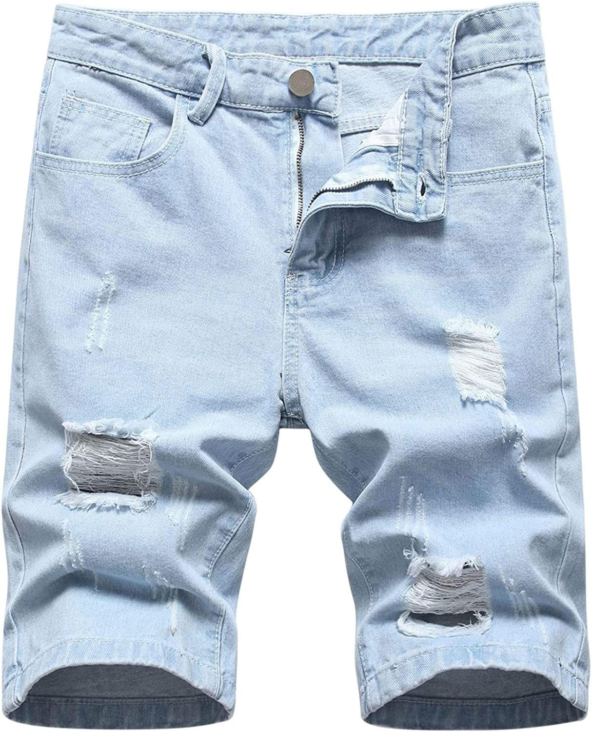 Men's Summer Casual Denim Shorts Ripped Distressed Relaxed Fit Printed Thin Casual Washed Denim Jeans Cargo Shorts