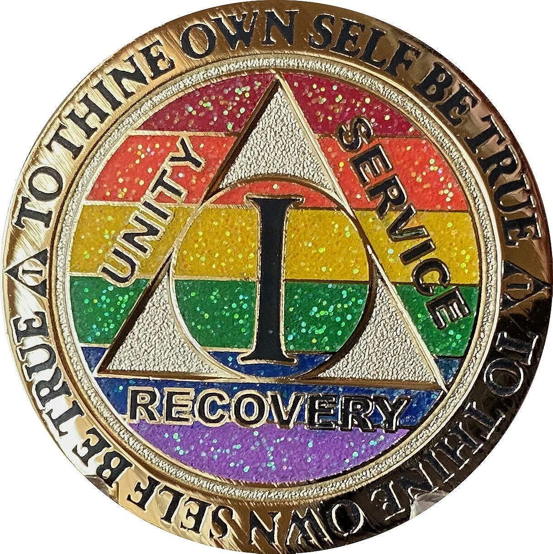 1 Year AA Medallion Max 88% OFF Reflex Rainbow and Plated Gold Glitter Sobri Max 61% OFF
