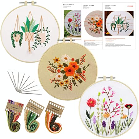 1 Embroidery Hoops 3 Pack Embroidery Starter Kit with Pattern and Instructions Full Range of Stamped Embroidery Kits with 3 Embroidery Clothes with Plants Flowers Pattern