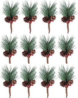 Set of 12 Artificial Pine Branch,Small Fake Pine Greenery Picks Garland for Christmas Flower Arrangements Wreaths and Holiday Decorations
