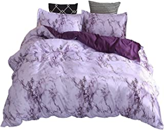 WINLIFE 3D Marble Line Print Duvet Cover Simple Plain Microfiber Bedding Set Purple King
