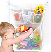 Mesh Bath Toy Organizer, Extra Durable, Washable and Quick Dry Bathroom Toy Storage Basket for Kids, Tub Toy Net Holder, Bathtub Toy Organizer with 2 Suction Cup Hooks, Cute Baby Shower Gift