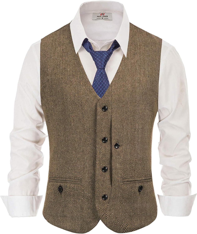 Men's Western Herringbone Tweed Suit Vest Wool Blend V Neck Slim Fit Waistcoat