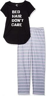 Crazy 8 Girls' Big Short Sleeve Curve Hem Flame Resistant Pajama Set, Bed Hair Don't Care, L