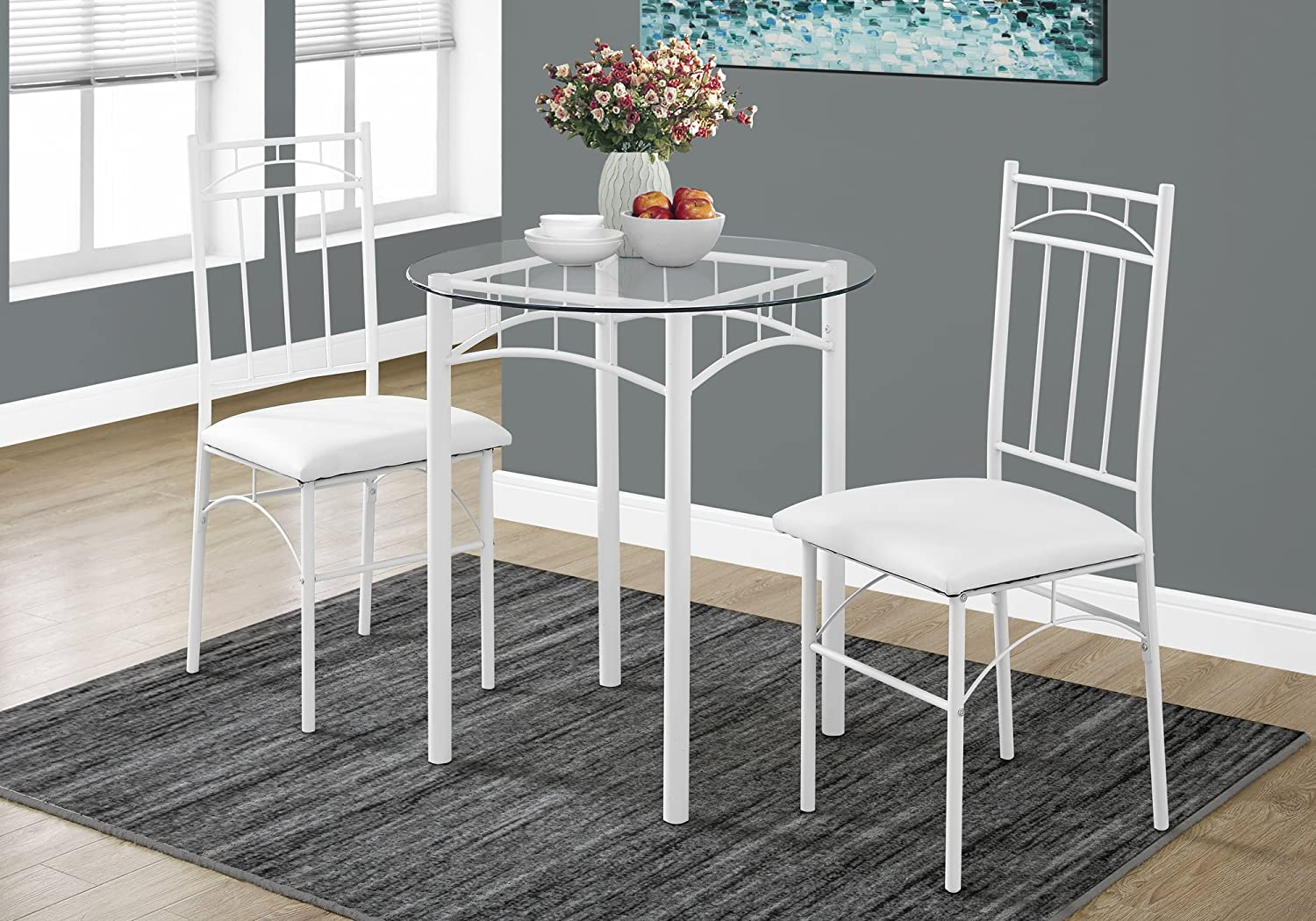 Monarch Specialties I 1001 Dining Set-3Pcs White Metal Tempered Glass
