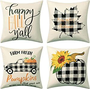 joybest Fall Throw Pillow Covers, 18×18 Inch Autumn Farmhouse Buffalo Plaid Maple Leaf Pillow Cover,Thanksgiving Linen Pillow Case for Sofa Couch Bedding and Home Decor (4 Pack)