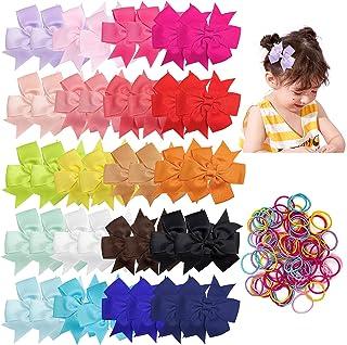 Czemo 40 Piezas 3 Pulgadas Niñas Grosgrain Ribbon Lazos Pinzas para el Cabello Accesorios para Pelos para Niños Pequeños N...